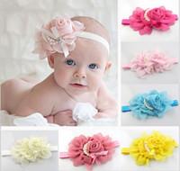 Solid beautiful hair bands - 8 colors New Style beautiful chiffon pearl big flower headband girl baby hair band headwear QS348