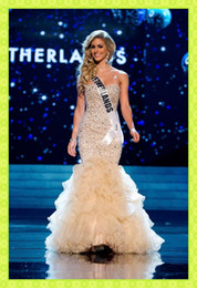 Wholesale 2016 Miss World Champagne Luxury Crystals Beaded Mermaid Prom Pageant Dresses Sweetheart Ruffle Sexy Affordable Evening Beauty Contest Gown