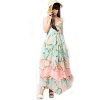 Spaghetti Ankle Length A Line Korea Women's Bohemian BOHO Floral Maxi Chiffon Long Dress Skirt #2008