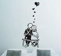 Wholesale Couple in Love Decal Sticker Wall Art Bench Park Married Graphic Wall Sticker for home wall art CM