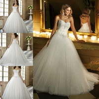 Wholesale 2014 DHgate Hot Sexy Strapless Sweetheart Appliqued Beaded amp Sequin Lace Tulle Ball Gown Wedding Dresses Winter Bridal Gown