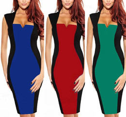 Wholesale Blue GREEN RED New Womens Fashion Summer Optical Illusion Colorblock Cap Sleeve Party Bodycon Work Sheath Pencil Dress