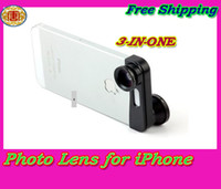 Wholesale Brand new in Quick change camera photo lens for iPhone G Fisheye Macro Wide angle Black photo lens amp amp