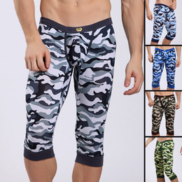 Wholesale Brand New Sexy Men Knee Hith Long Johns Camouflage Cotton Pants Sleepwear Shorts Warm Underwear