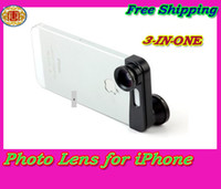 Wholesale Brand new in Quick change camera Photo lens for iPhone G Fisheye Macro Wide angle Black photo lens with Retail