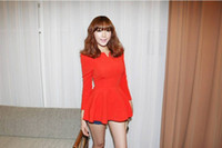 Wholesale 2013 Woman New Fashion korea Puff Long sleeves Fitted Peplum Cotton Tops Autumn Blouse
