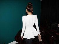 Cotton korea fashion blouse - 2013 Woman New Fashion korea Puff Long sleeves Fitted Peplum Cotton Tops Autumn Blouse
