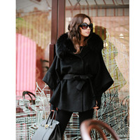 Wholesale Women s Luxury Double Breasted Batwing Cape Poncho Coat Fur Collar Hooded
