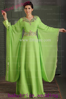 Chiffon Long Sleeve Floor-Length Arabic Dubai ABAYA KAFTAN Green Greek Dress Gold Embroidery Edge Muslim Dress Poet Long Sleeve With Beaded Evening Dresses formal gowns 2014