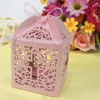 Wholesale Cross Lantern Style Laser Cut Candy Boxes with Ribbon Wedding Favors Party Favors
