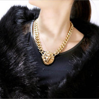 Wholesale Lion head necklaces womens Fashion Necklace alloy Pendant Necklace plated gold chain Chokers fashion jewelry A175