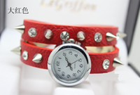 Wholesale fashion Rivet punk Quality Excellent Cow Leather winding ladies bracelet Watches
