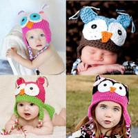 Wholesale Fashion Cute Lovely Baby Boy Girl Toddler Child Owl Knit Crochet Hat Beanie Cap Handmade