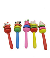 Wooden baby child development - cartoon animal rattle baby supplies series mental development toys for children