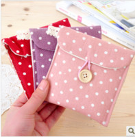 Cotton and linen Admission package sanitary napkins Eco Friendly Polka Dot cotton sanitary napkin pouch dot cloth sanitary napkin package sanitary napkin bag