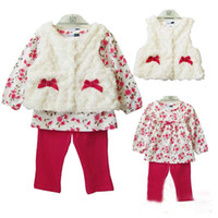 Wholesale 2013 New kids set baby girl Roses velvet waistcoat Floral printed cotton long sleeved t shirt red spandex pants JU72