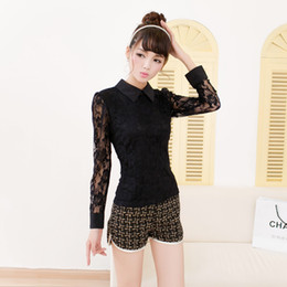 Wholesale Korean spring women new black hollow lace doll collar lapel wild cotton tops long sleeved bottoming T shirt ewt75