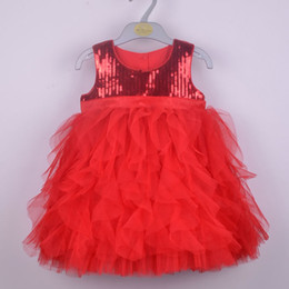 Wholesale New Arrival Christmas Baby Girl s TUTU Dresses Kids Sling Vest Sequins Layered Bow Cake Party Wedding Dress Children Red Pink Suits Clothing