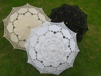 Wholesale Lace Parasols Bridal Wedding Umbrellas Plain White Ivory Black Color Straight Sun Umbrellas