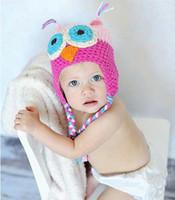 Boy Spring / Autumn Ear Muff free shipping Children's Caps Toddler Owl EarFlap Crochet Hat Baby Handmade Crochet Hat Handmade OWL Beanie Knitted girl hat 15 color choose