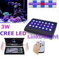 Wholesale Cheap w CREE LED Aquarium Light Intelligent Lighting Dimming W grow light spectrum with Remote Control White Blue Red Purple