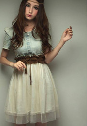 Wholesale Women and Girls Dress Vintage Jean Denim Party Dress Retro Girl Blue Top White Skirt With belt M L