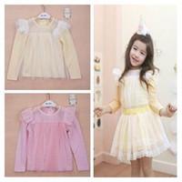 long sleeve yellow t-shirts - Phelfish Girl T shirts Long Sleeve Gauze T shirts Baby Clothes Pink Yellow