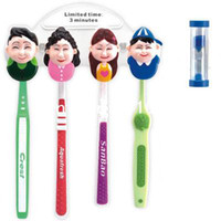 Wholesale High Quality Happy Family Home Bathroom Toothbrush Suction Holder Stand Rack Set Bin With Sand Clock BH