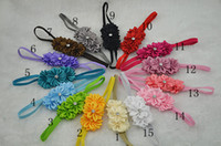 Wholesale Trail order triple satin ribbon flower with rhinestone Thin Elastic headbands girl Headbands hair accessories