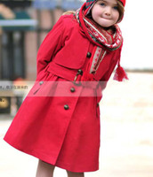 Girl 100% Cotton Turn-down Collar Fashion Casual Trench Coat Girls Overcoat Child Clothing Red Coat With Sash Kids Trench Coats Children Outwear Long Sleeve Coat Girl Clothes
