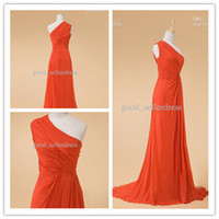 Wholesale Big Discount Chiffon One Shoulder Sweep Train Coral Prom Dress Evening Dresses Bridesmaid Gwons Online Store Hot Sale