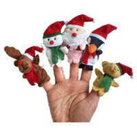 Wholesale 5pcs set Plush Family finger puppets wool Wear toys finger doll Christmas gifts Baby doll KY219