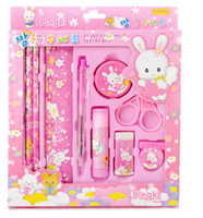 Wholesale One set with piece packing welcomed stationery set gift pupils kindergarten prize child birthdays presents pencil eraser bule and pink