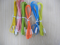 Wholesale New mm to mm Colorful Car Aux audio Cable Extended Audio Headphone Stero Flat Cables for iphone ipod PC MP3