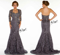 Sweetheart designer shirts - 2015 Gorgeous Designer Lace Sweetheart Mermaid Evening Prom Gowns Sequins Mother of the Bride Dresses With Lace Jacket Mother Formal Wear