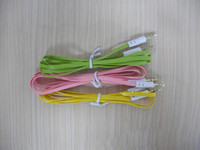 Wholesale Hot mm to mm Colorful Car Aux audio Cable Extended Audio Headphone Stero Flat Cables for iphone ipod PC MP3