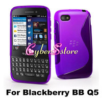 Wholesale Colorful S Wave Line Clear Crystal Soft TPU Gel Case Cover For Blackberry BB Q5