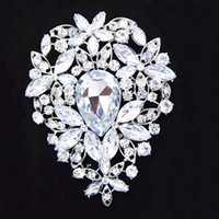 Wholesale 3 Inch Big Silver Plated Huge Teardrop Rhinestone Crystal Luxury Wedding Bouquet Brooch B638 Elegant Big Flower Wedding Bridal Jewelry Pin