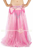 Chiffon Long  New Womens sexy Belly Dance Stage Costume dancewear Ruffled Tribal Gypsy Satin Skirts #C1131