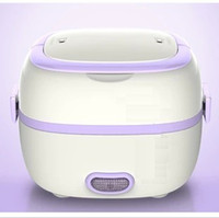 ECO Friendly purple,rose  Electric plug lunch box USB lunch box stainless steel liner insulation electrical charging and heating cooking rice cooker with students