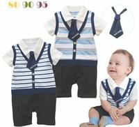 Wholesale 2013 New baby boy rompers gentleman collar tie striped short sleeve rompers