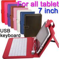 Wholesale 7 quot inch USB PU Leather Keyboard stand Case for All the common Tablet PC Andriod samsung tab ipad mini google Lenovo Acer
