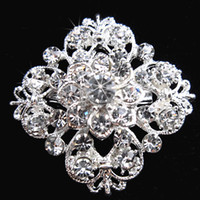 Wholesale Silver Tone Clear Rhinestone Crystal Brooch Flower Girls Corsage Fashion Brooch Wedding Bridal Bouquet Pins Brooches B634