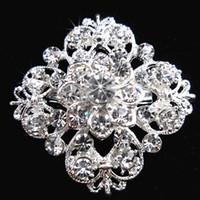 Wholesale Celtic Brooch Bouquet - Silver Tone Clear Rhinestone Crystal Brooch Flower Girls' Corsage Fashion Brooch Wedding Bridal Bouquet Pins Brooches B634