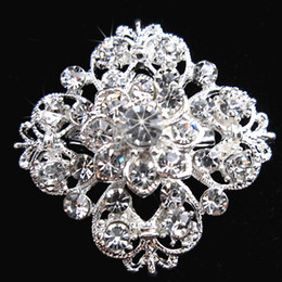 Silver Tone Clear Rhinestone Crystal Brooch Flower Girls' Corsage Fashion Brooch Wedding Bridal Bouquet Pins Brooches B634