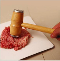 Wholesale 2013 newDouble hammer knock meat hammer hammer with wooden handle loose steak kitchen creative products