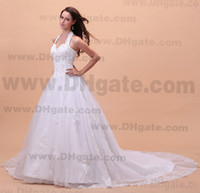 Wholesale 2013 New Arrival Handmade Applique Beaded Elegant Sweep Train Sleeveless V Cut Halter Neck A Line White Lace Wedding Dress Bridal Gown