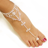 Wholesale 1 pair sexy rhinestones barefoot sandals stretch slave anklet chain crystal foot jewelry high quality gold silver color drop ship accept