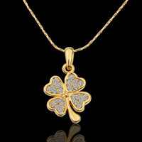Bohemian cz gems - New K yellow gold plated CZ Austrian crystal gem stone charm rhinestones Clover Necklace High quality KN562