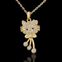 Wholesale 18K yellow gold plated New CZ Austrian crystal gem stone charm rhinestones cat Necklace valentine gift KN590